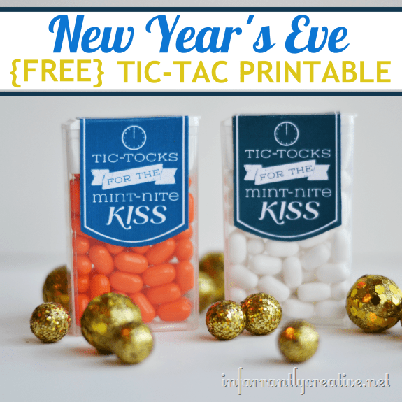 tic tacs re-labeled as tic tocks for the mint-nite kiss with title text reading New Year's Eve Free Tic-Tac Printable