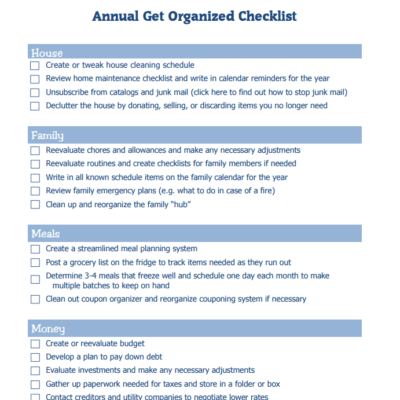 Annual Get Organized Checklist for house, family, meals, and money