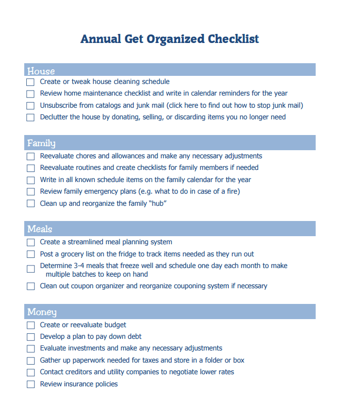 printable Annual Get Organized Checklist