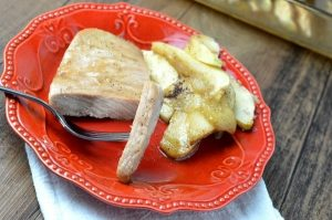 Baked Pork Chops and Apples with Brown Sugar Glaze