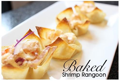 Baked Shrimp Rangoon on a white platter