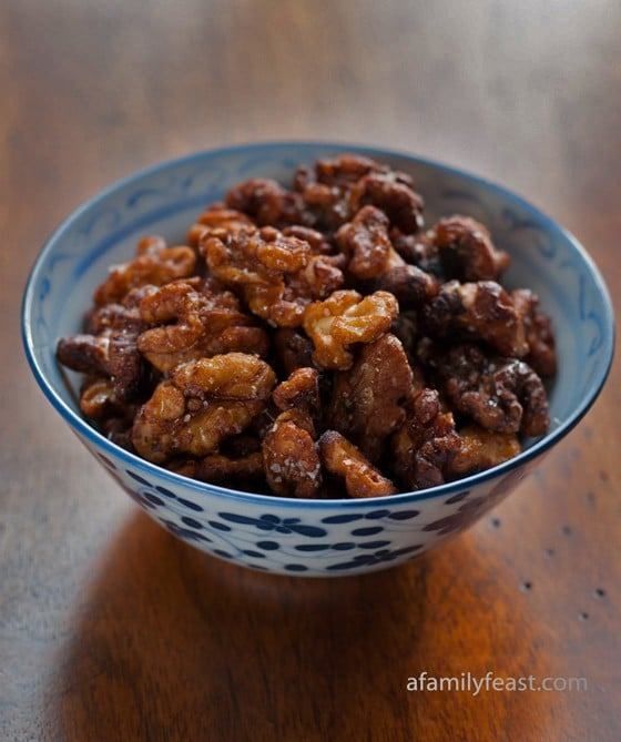 Chinese Fried Walnuts in a bowl on a brown table