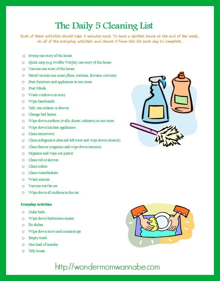 Daily 5 Cleaning List printable