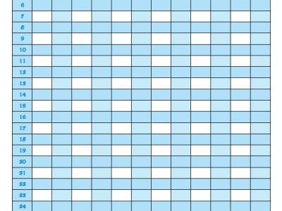 Blank fitness calendar