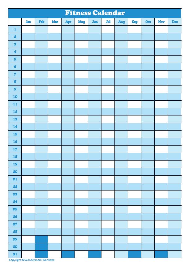 printable Fitness Calendar