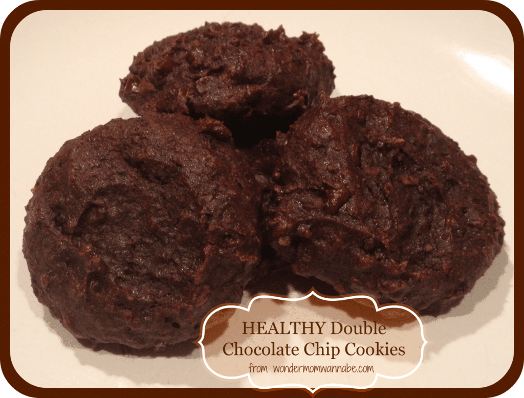 cookies on a white plate with text reading Healthy Double Chocolate Chip Cookies