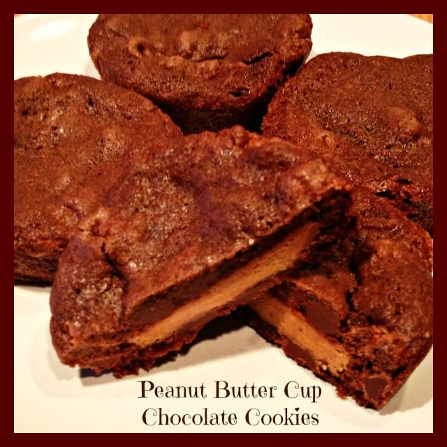 four cookies with one of the cookies cut in half with title text reading Peanut Butter Cup Chocolate Cookies