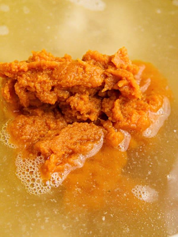 pumpkin puree in broth