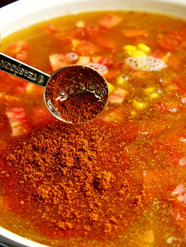 chili powder being added to the tex mex chicken soup in a pot