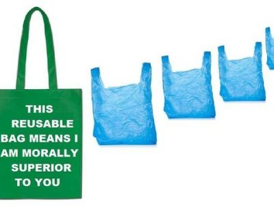 One reusable bag and 4 plastic bags. Says this reusable bag means I am morally superior to you