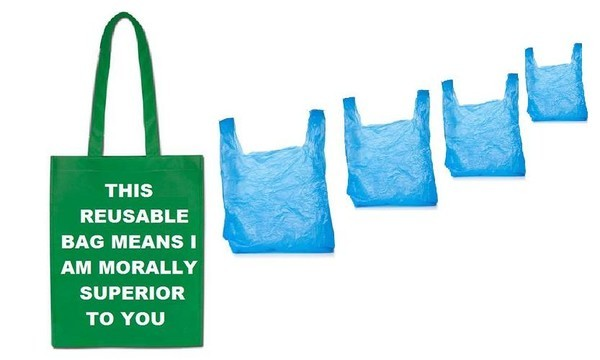 four blue plastic bags next to a green bag with text on it reading This Reusable Bag Means I Am Morally Superior To You