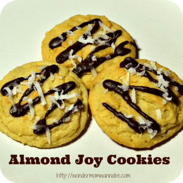 three cookies on a white background with title text reading Almond Joy Cookies