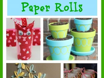Collage of DIYs to do using toilet paper rolls