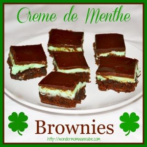 brownies on a white plate on a white cloth with title text reading Creme de Menthe Brownies