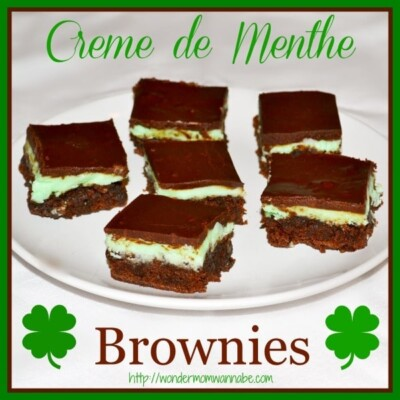 Creme de menthe brownies on white plate