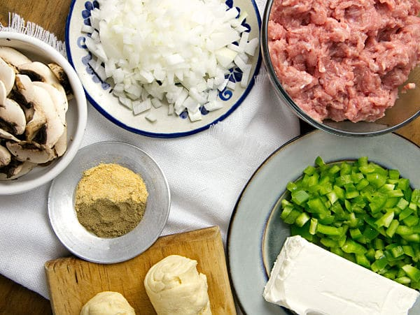 ingredients in bowls needed for ground turkey turnovers