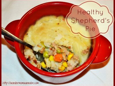 Shepherd's pie in red bowl
