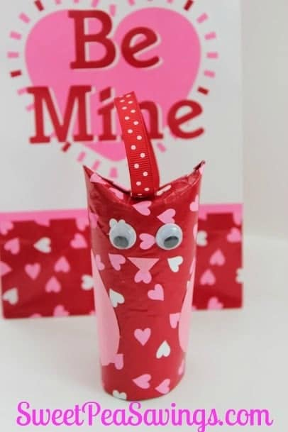 toilet paper roll Valentine Owls with the words be mine in the white background