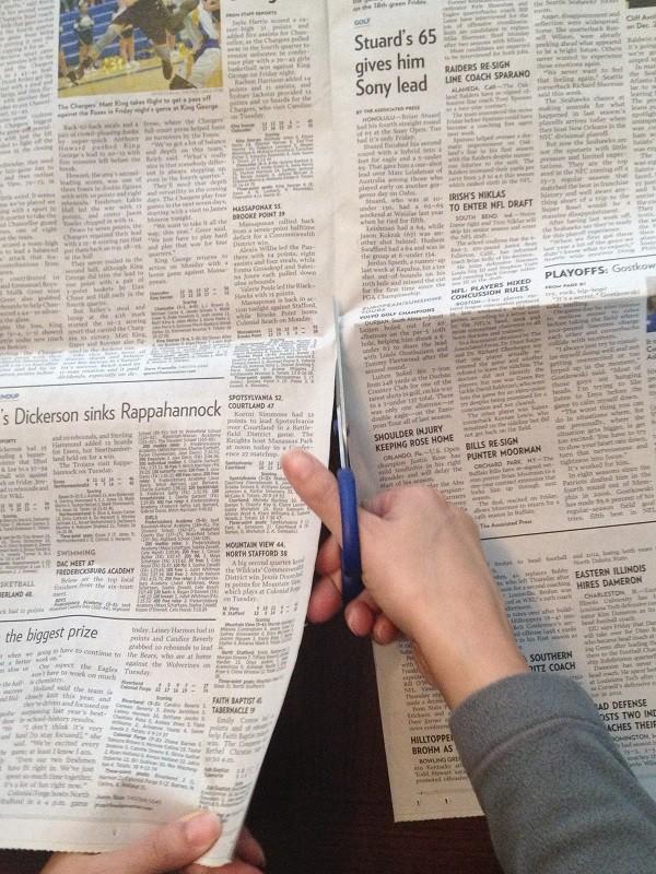 Cut Newspaper in Half