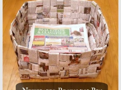 Bin made from the weaved newspapers