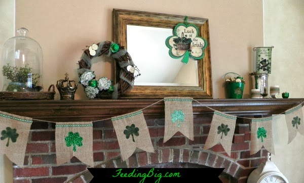 St Patricks Burlap Bunting hung on a mantle
