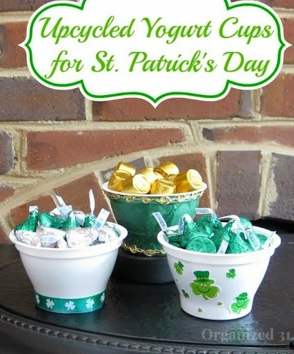 yogurt cups filled with candy with title text reading Upcycled Yogurt Cups for St Patricks Day