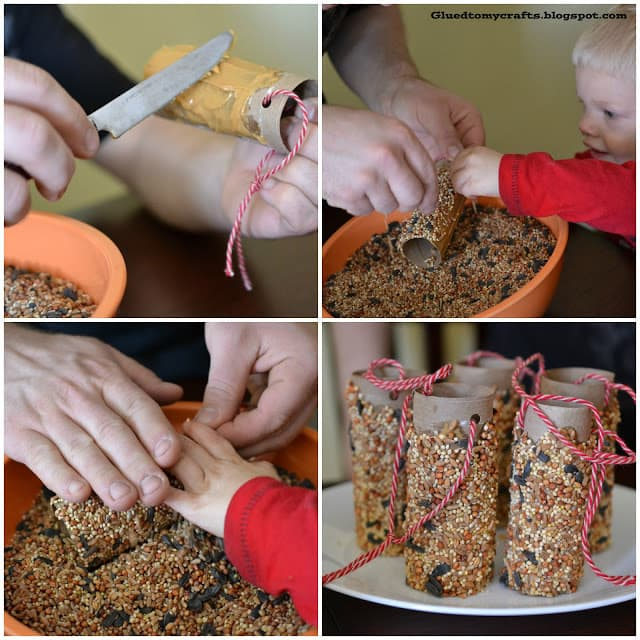 a collage of four different pictures showing how to make a toilet paper roll bird feeder
