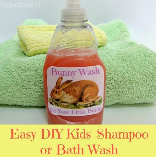 Bunny Wash in a bottle with a yellow washcloth and green towel behind it and title text reading Easy DIY Kids Shampoo or Bath Wash
