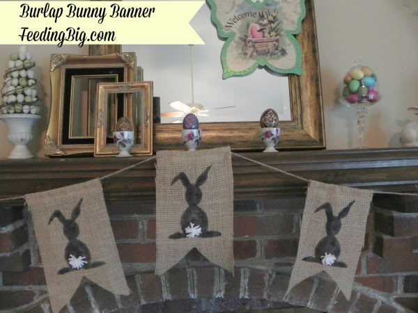 Burlap Bunny Banner on a mantle