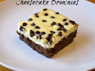 Cheesecake brownie on a white plate
