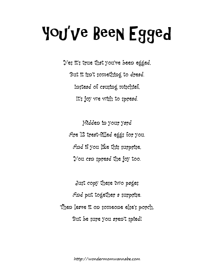 graphic regarding You've Been Egged Printable called Youve Been Egged!