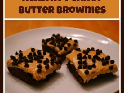 Peanut butter brownies on white plate