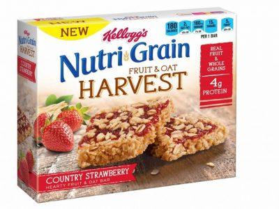 Kelloggs Nutri Grain Fruit & Oat Harvest Strawberry bars box