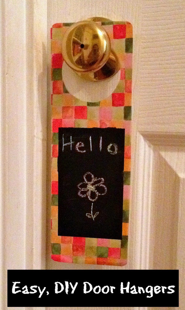 DIY Door Hanger with the word hello written on it and a flower drawn on it with title text reading Easy, DIY Door Hangers
