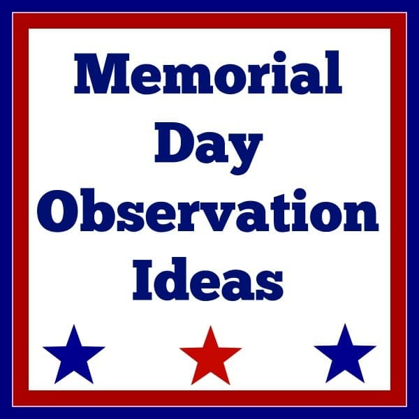 a white background with star graphics on it with a red and blue border with title text reading Memorial Day Observation Ideas