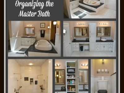 Collage of master bathroom