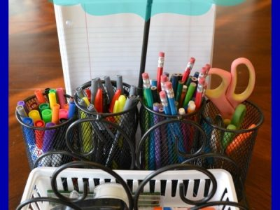 Holder for scissors, pencils, pens, markers, stapler, tape, glue