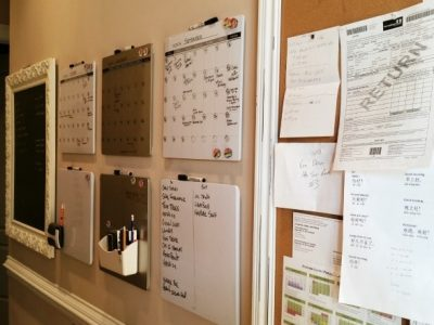 Organized Home wall full of calendars, lists, and paper