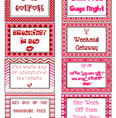 Homemade love coupons for various things