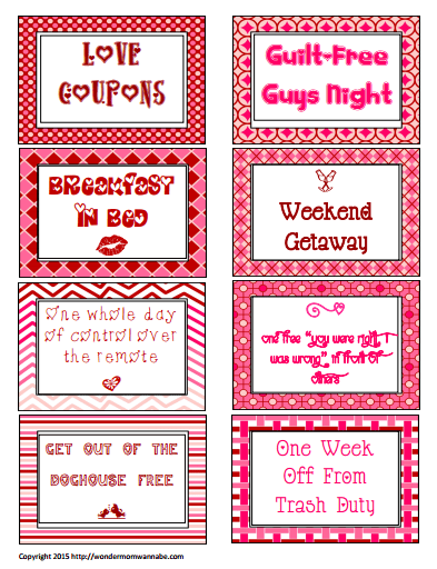 Free printable love coupons for valentine 39 s day for Coupon book for husband template