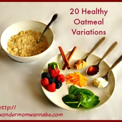 Bowl of oatmeal and plate with spinach, cheese, berries, cinnamon sticks, peanut butter, honey