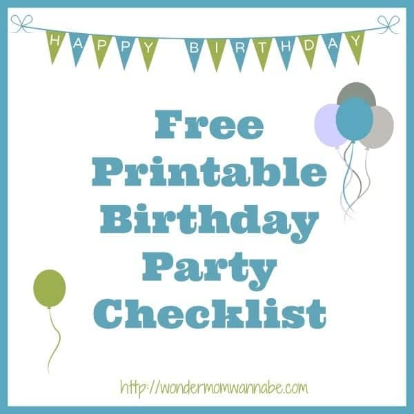 graphics of a happy birthday banner and balloons on a white background with title text reading Free Printable Birthday Party Checklist