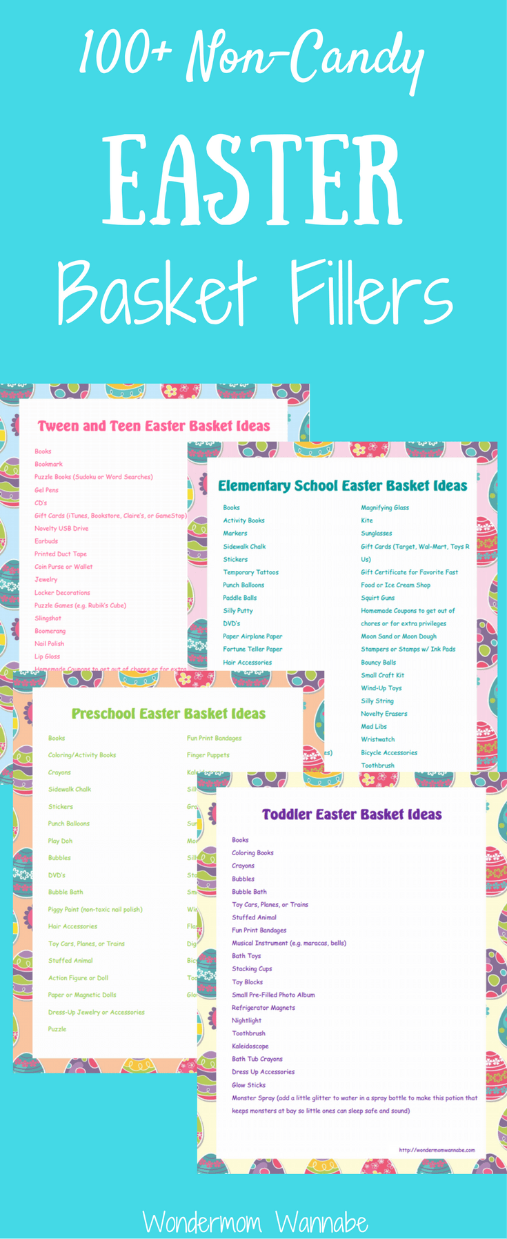 Lots of non-candy Easter basket fillers divided by age group and with free printable shopping lists!