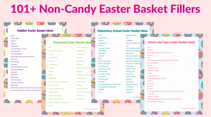 printables for toddler, preschool, elementary, tween and teen Easter basket ideas on a light pink background with title text reading 101+ Non-Candy Easter Basket Fillers