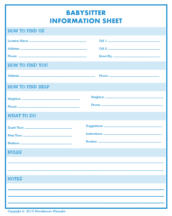 Babysitter Information Sheet