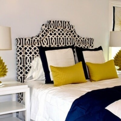 Yellow, blue, and white themed bedroom