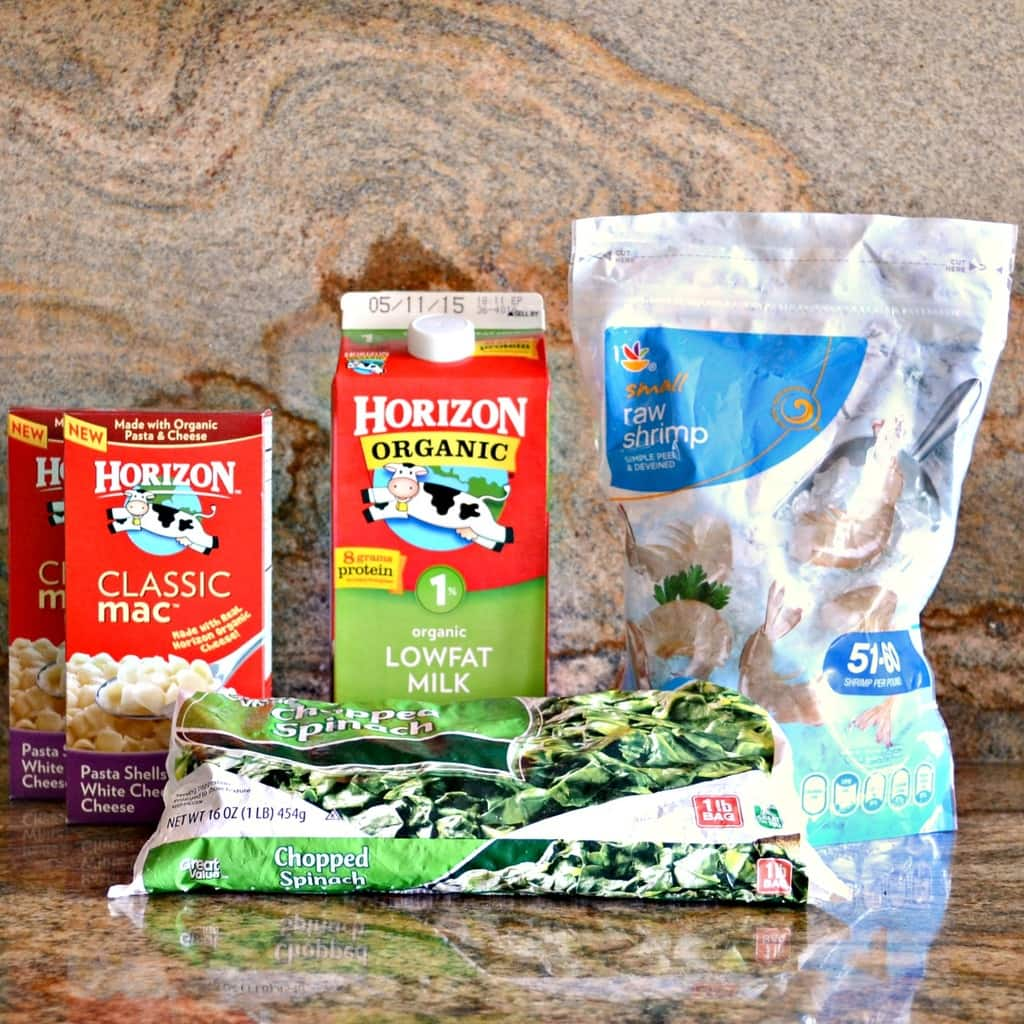 ingredients need for a Florentine Shrimp Macaroni meal