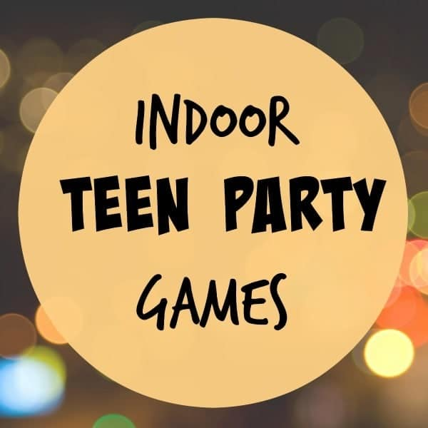 title text reading Indoor Teen Party Games with lights in the background