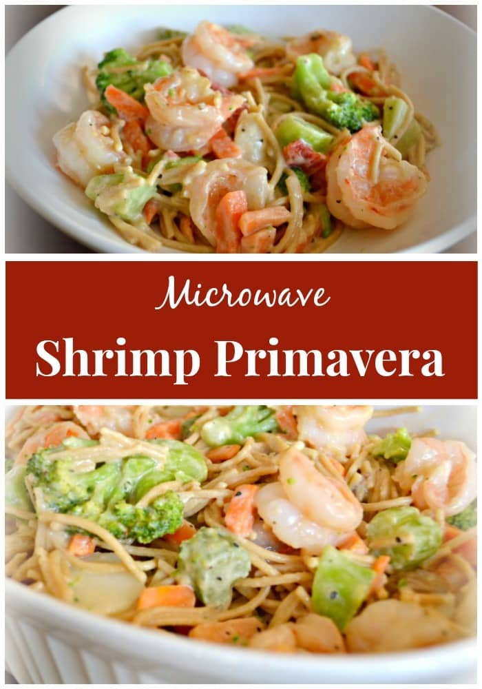 a collage of shrimp primavera in a white dish with title text reading Microwave Shrimp Primavera