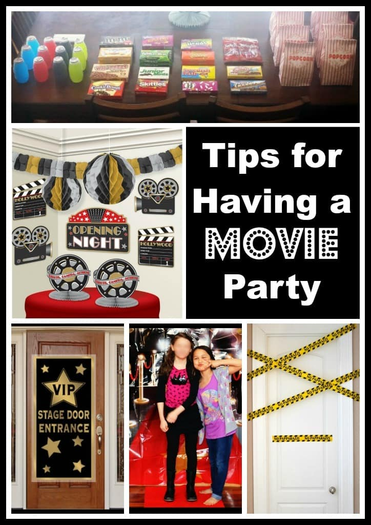 Collage of movie party decoration ideas